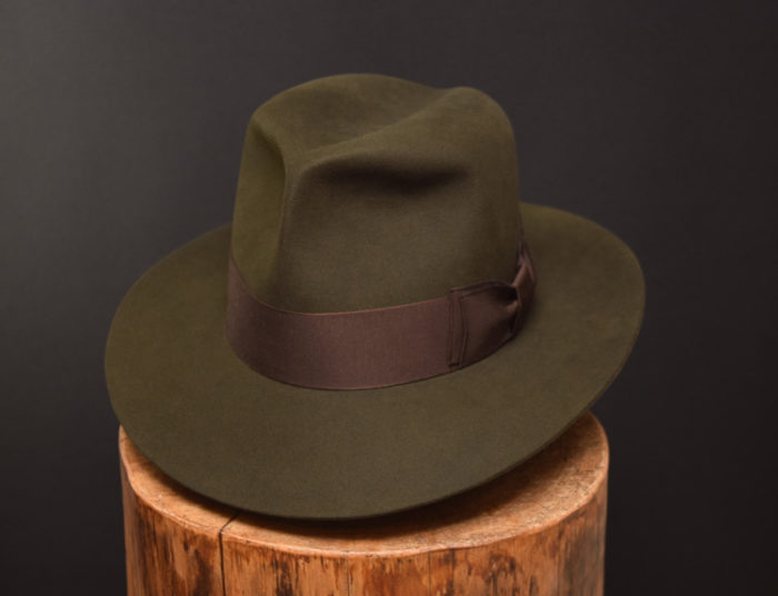 Custo Bespoke Fedora hat moss green