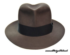 Clipper Fedora Hut Hat smoke grey Indiana Jones wide ribbon front