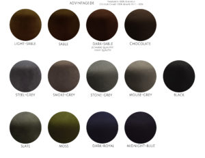 Farbkarte 100% Biberfilz Color Chart 100% beaver felt 100x