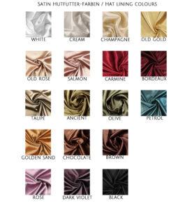Hutfutter satin farben hat lining liner colour