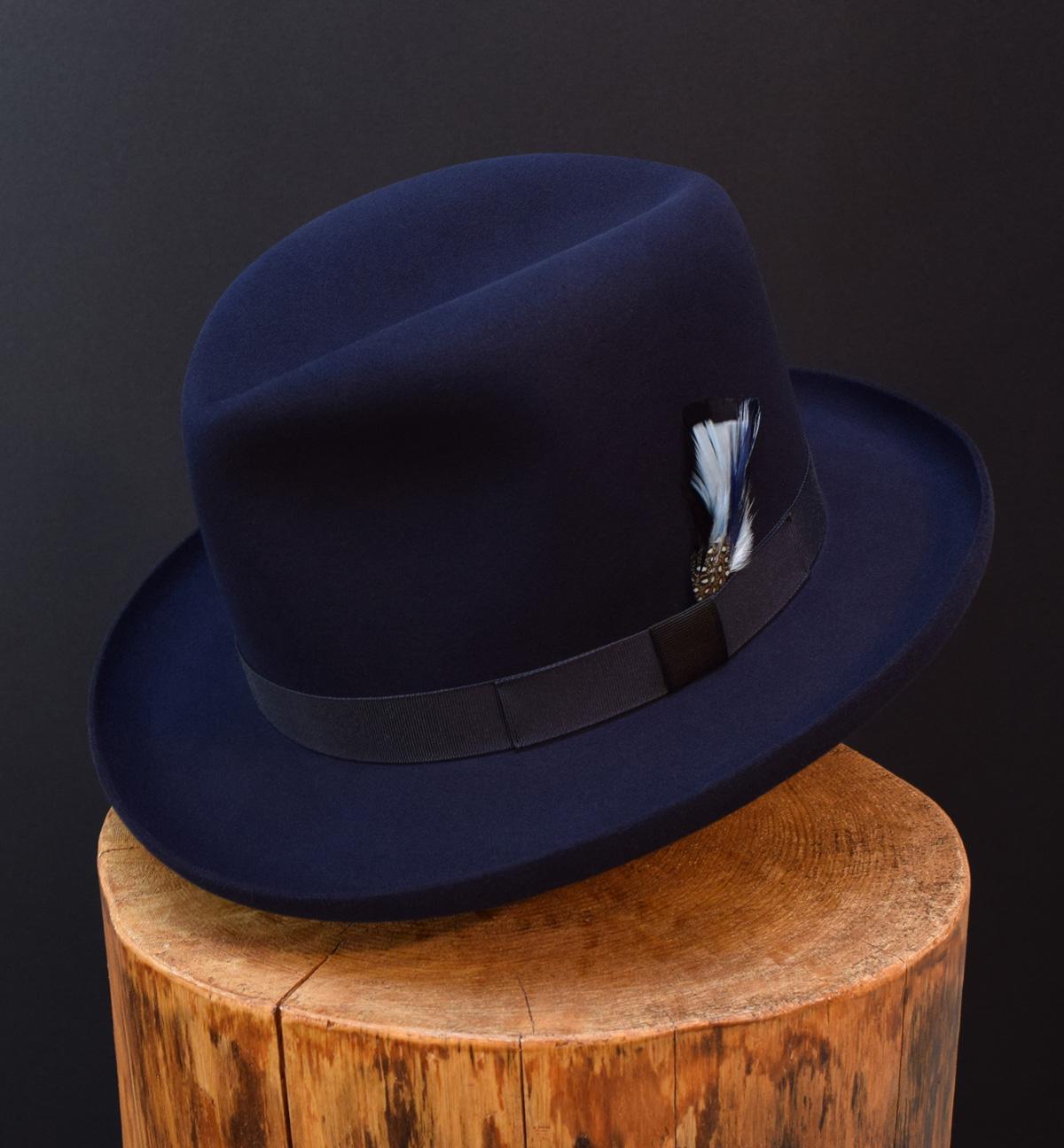 beaver felt fedora dark royal blue