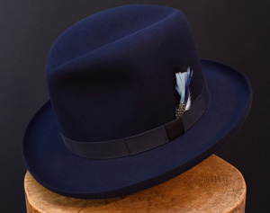 beaver felt fedora dark royal blue kl