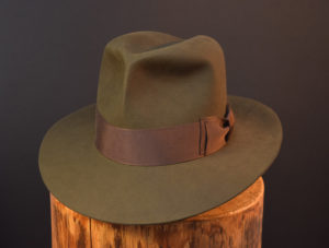 Custo Bespoke Fedora hat moss green 2