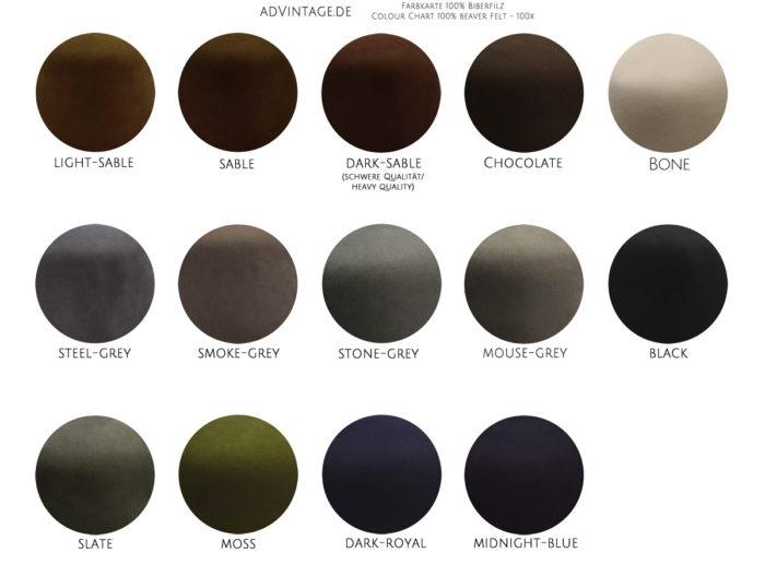 Farbkarte 100% Biberfilz Color Chart 100% beaver felt 100x biber