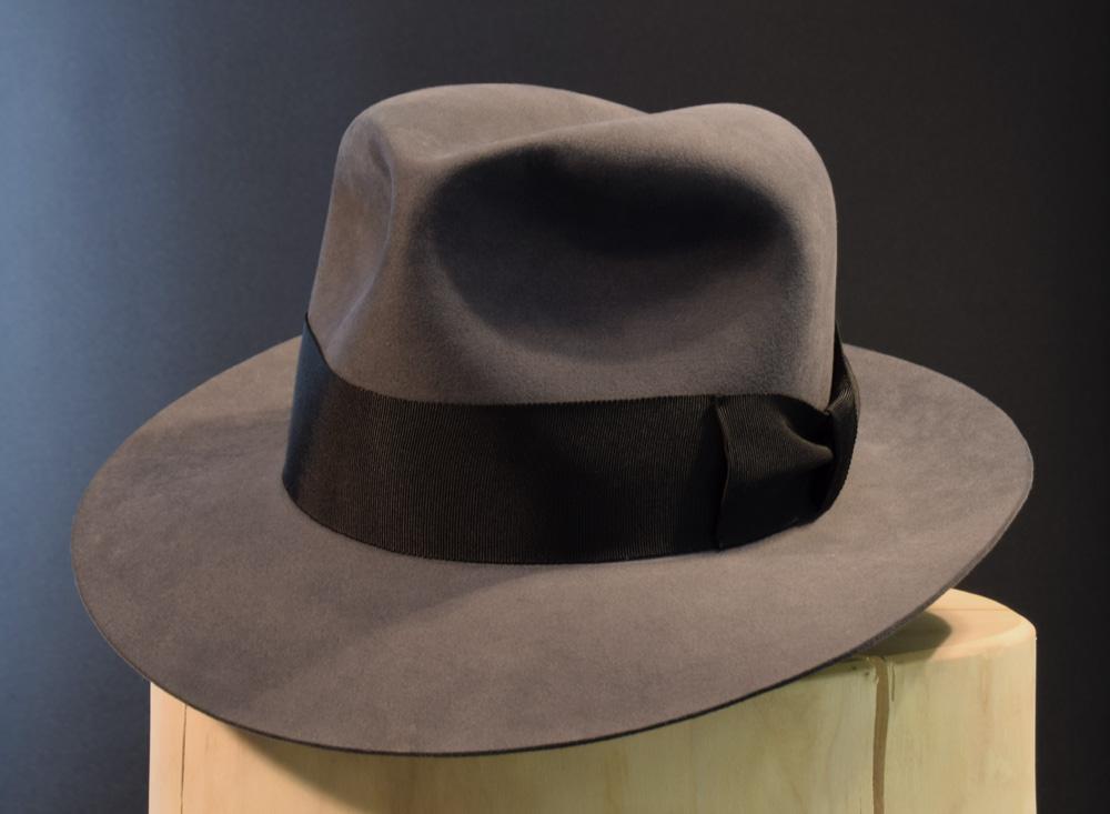 Custom Smoke grey fedora hat beaver hut biber