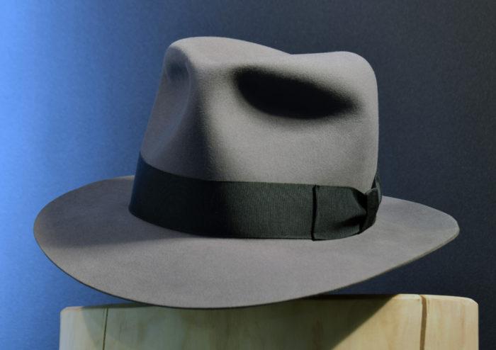 grauer Fedora Hut biberfilz 1