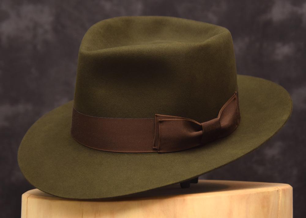 6 diamond crease fedora hut hat beaver biber green moss grün moos 1