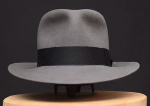 Temple Fedora hat Indiana Jones stone grey grau biber filz 1