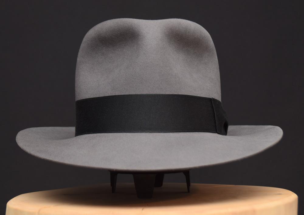 Temple Fedora hat Indiana Jones stone grey grau biber filz 1