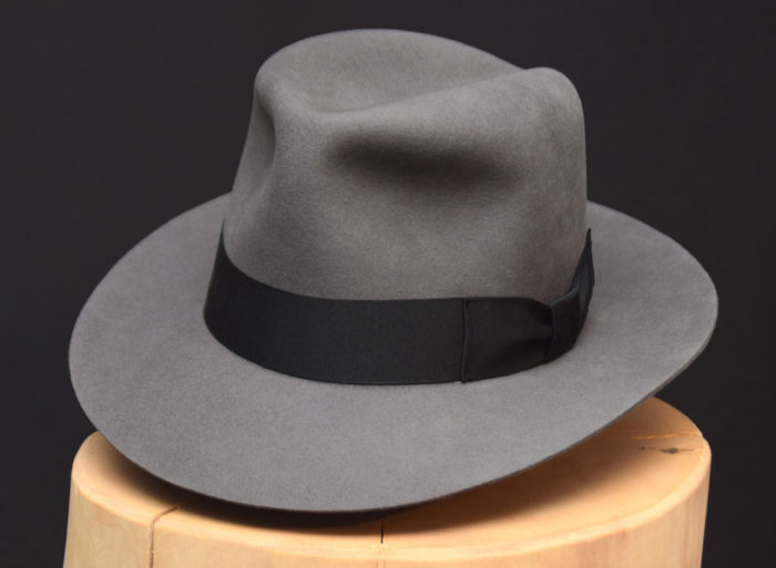 Temple Fedora hat Indiana Jones stone grey grau biber filz 2