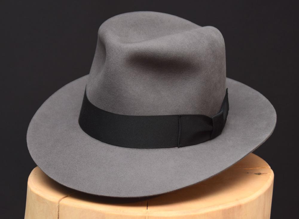 Temple Fedora hat Indiana Jones stone grey grau biber filz 2