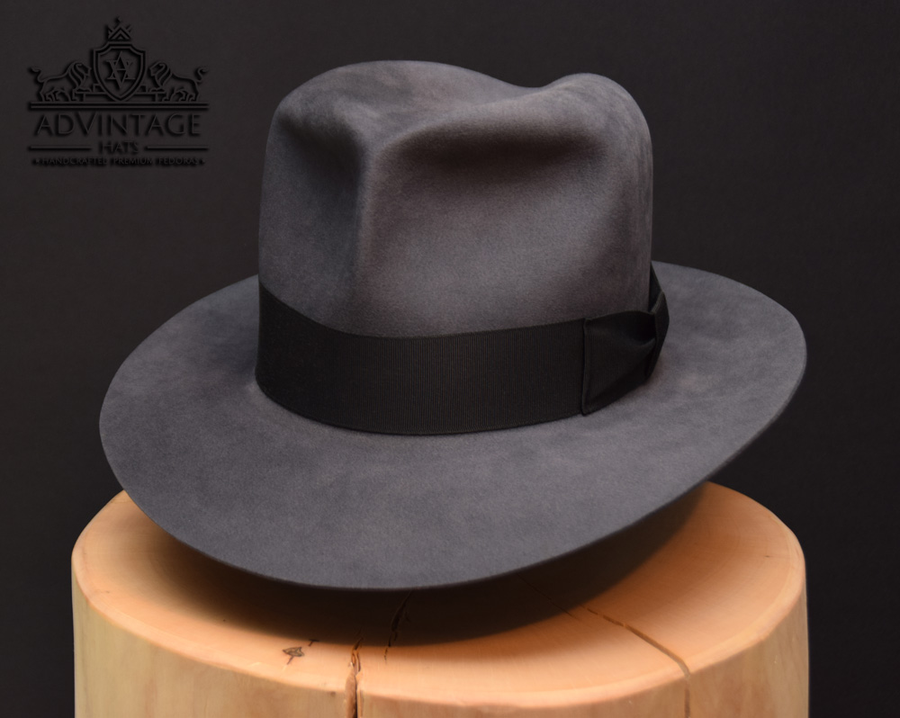 Steel grey stahl grau Clipper Fedora hat beaver biber hut