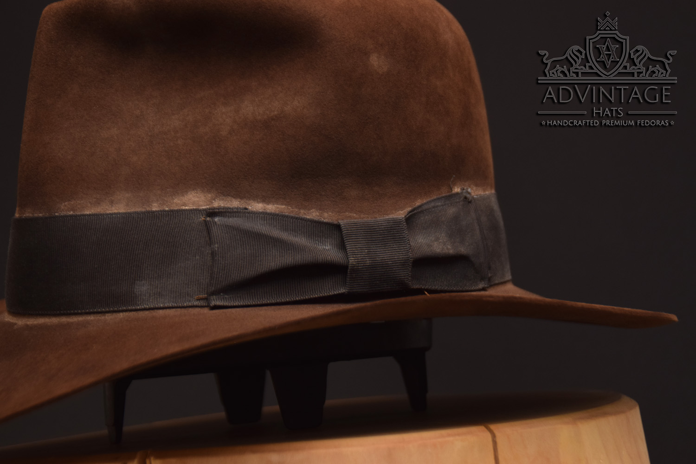 Streets of Cairo Indiana JOnes fedora hat hut sable, distressed felt bow