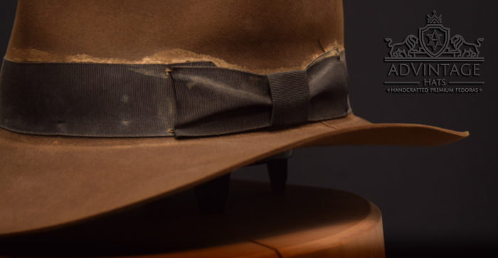 soc ribbon bow streets of cairo distressed indy hat fedora indiana jones hut used weathered 1492