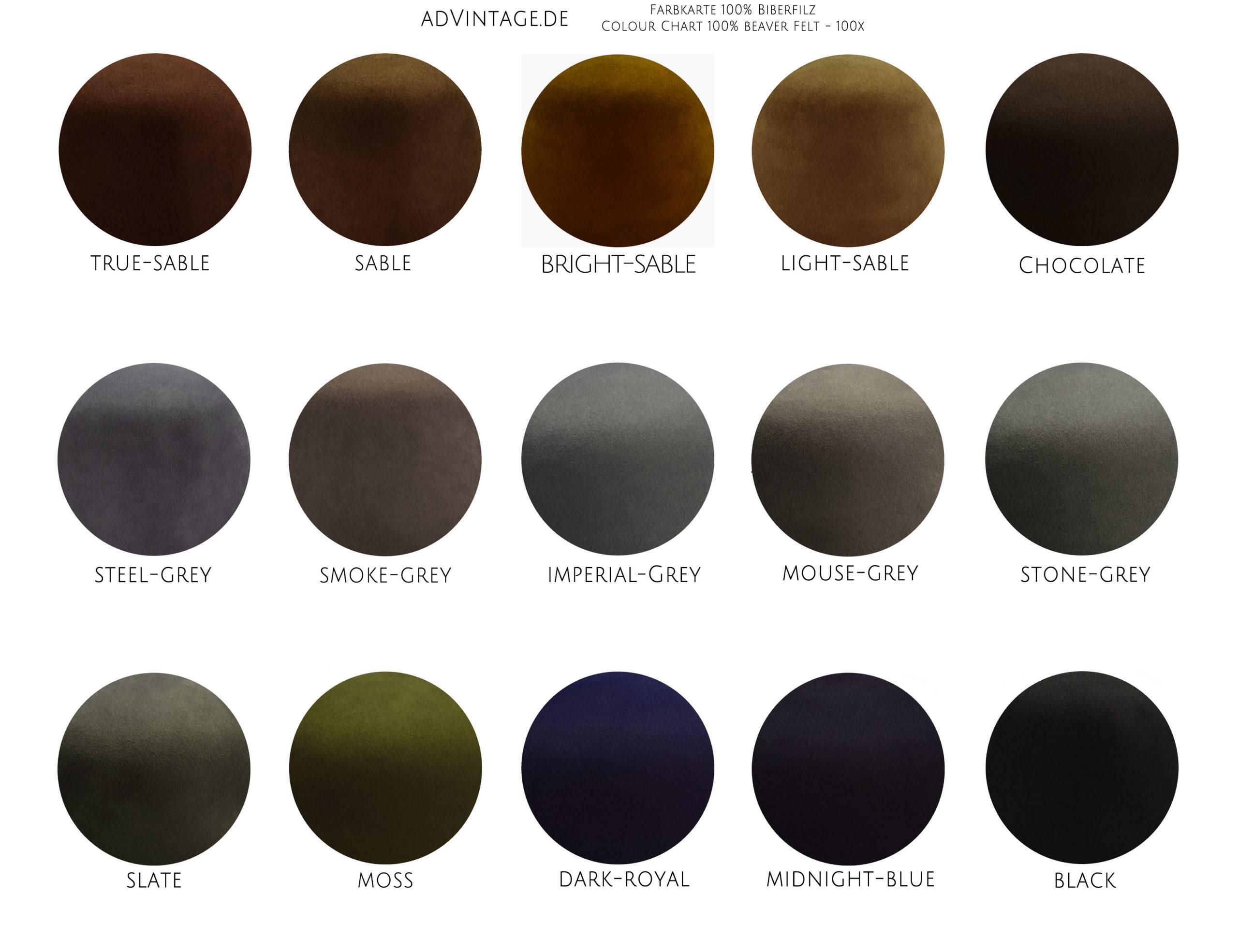 100x beaver felt biber filz fedora hat color chart farben advintage