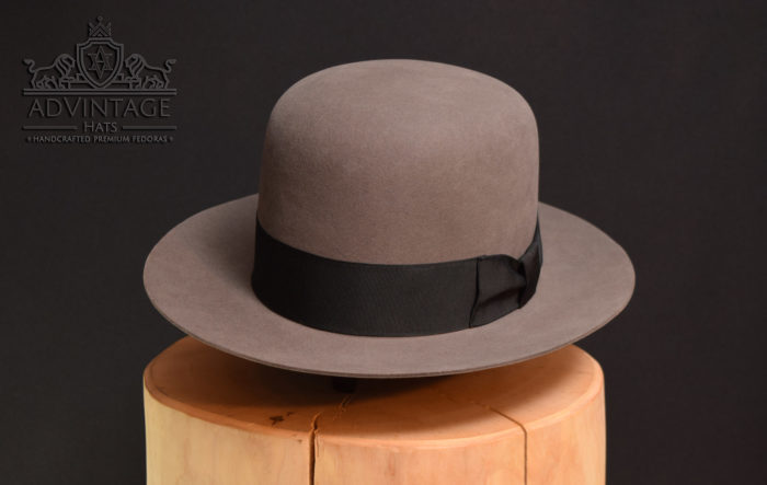 open crown fedora hut hat mouse-grey