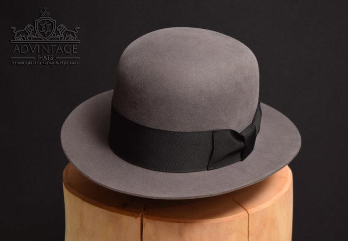 custom bespoke open crown fedora hut hat grau grey 100x biberfilz beaver felt