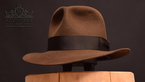 Temple Fedora hat in Sable and 100% rabbit felt